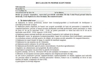 Carantină Blaj – model declarație pe propria răspundere ACTUALIZAT